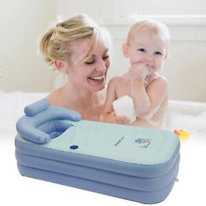 Portable Adult Child Inflatable Blowup Bath Tub PVC Spa Warm Bathtub Blue