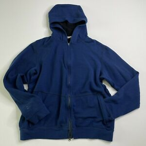 Ibex Medium Mens Jacket Blue Full Zip Wool Hiking Outdoor Hooded Sweater Logo