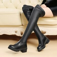 Womens Shoes Black Genuine Leather Low Heels Zip Up Over Knee Boots UK Size b951