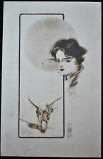 1910 LITHO POSTCARD LADY & HOUND DOGS GALLATIN TN TENNESSEE COLUMBIA KY