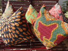 5 Handmade Vintage Kantha Cushion Cover set made from old fabric  Cotton Pillow