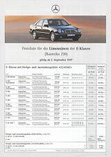 Mercedes E-Klasse Limousine Preisliste 1.9.97 6 S. price list 1997 prijslijst