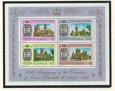 TUVALU # 81-84, 84a QUEEN ELIZABETH II CORONATION SILVER JUBILEE Souvenir Sheet