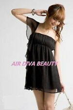 Ladies Girls Women Party clubwear Black Chiffon one off shoulder Hot Mini dress