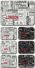 'City Travel' (London Paris Rome) Cinnamon Cork Backed Placemats - Set/6 *NEW*