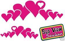 2 X Love Rosa Corazón Strip coche ventana Stickers Calcomanías