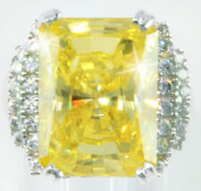 14 ct Radiant Canary Ring Top AAAAA CZ Imitation Moissanite Simulant SS Size 7