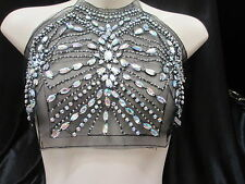 Holographic Beaded Bodice Neckline and Band Applique Set (2 pieces)