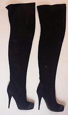 Fendi Stivale Camoscio nero suede Knee stiletto Boots sz 38.5 Box Dustbag $1980
