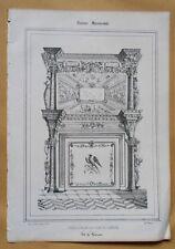 Lithographie XIXème - Cheminée du Château de Lauzun - P.B - J. Philippe