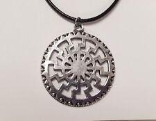 Black Sun Pendant Schwarzesonne Necklace Viking Silver Tone Occult Pagan Symbol