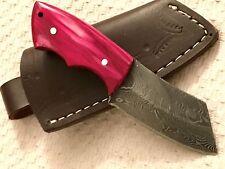 Beautiful Mini Damascus Steel  Skinner / Cleaver Knife With Pinkish  Wood Handle