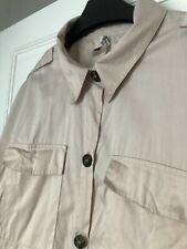 £ 5 Oferta ~ ~ Zara Bloggers Beige Oscuro Carey Botón Militar Camisa M 10/12