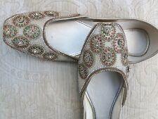 Oro señoras Indio Boda Khussa de cuero zapatos talla 7