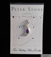 Celtic Blue Moon Pendant Natural Amethyst 925 Sterling Silver by Peter Stone