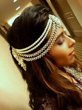 Indian Handmade Pearl Stone Side Headpiece Jewelry Matha Patti for Weddings or