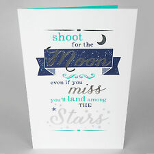 BIRTHDAY GREETINGS CARD -  Stars Sentimental Inspiration - Silver Foil - AH5019