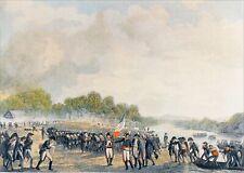 PASSAGE du RHIN par le GÉNÉRAL MOREAU & ses SOLDATS - Gravure en couleur du 19e