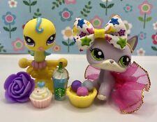 Authentic Littlest Pet Shop # 2093 Yellow Parakeet # 2094 Purple Short Hair Cat