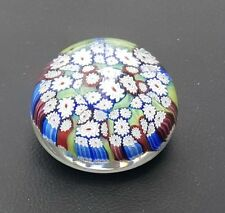 VINTAGE MURANO ART GLASS PAPERWEIGHT MILLEFIORI MULTI-COLOR FLORAL ITALY