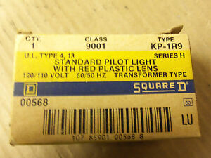 New Square D Standard Pilot Light Red Plastic Lens 9001KP1R9 9001 KP1R9 120V