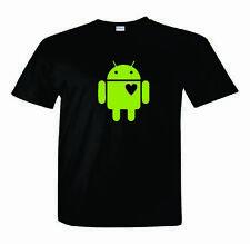 Android T-Shirt   In Love Heart  Weight  Nerd/Computer Geek Cell Phone S-2XL