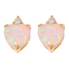 White Opal CZ Silver Yellow Gold Filled Women Jewelry Gems Stud Earrings OH4343