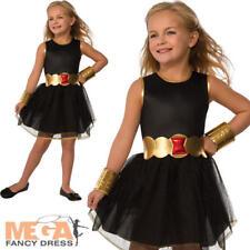 Black Widow Girls Superhero Fancy Dress Avengers Book Childrens Kids Costume New
