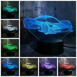 Feerrari CARS 3D Acrylic LED 7 Colour Novelty Gift Night Light Touch Table Lamp