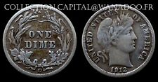 USA One Dime 1912D Barber Liberty Head Argent/Silver