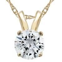 G/SI .75ct Diamond Solitaire Pendant 14K Yellow Gold Womens Necklace Enhanced