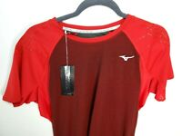 NEW Mizuno Performance T-Shirt Mens Discover Tee Chinese Red Back Pockets Sz M