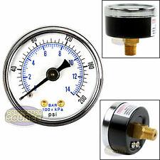 """1/8"""" NPT Air Pressure Gauge 0-200 PSI Back Mount 1.5"""" Face"""