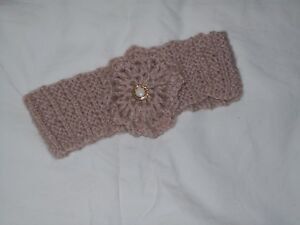 Ladies Hand Knit Beige Headband with Crocheted Decoration - Small - BNWOT
