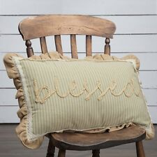 PRAIRIE WINDS BLESSED Throw Pillow Sage/Khaki Stripe Jute Rope Creme Lace 14x22