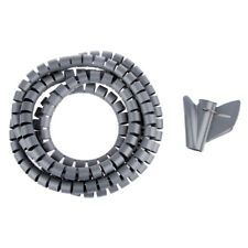 2M Cable Tidy Kit PC TV Wire Organizer Wrap Tool Sprial Office Home Grey