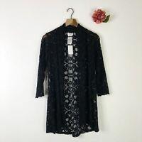 SUSAN GRAVER Women's Cardigan Sweater Open Front Stretch Lace Black XS