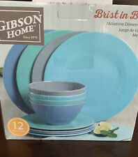 Gibson Home Brist Pastels 12 Piece Melamine Dinnerware Set, Assorted Colors