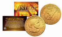 Susan B. Anthony $1 Dollar Coin Authentic 24K GOLD PLATED w/ Coin Capsule & COA