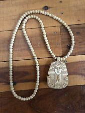 Good Wood NYC Pendant Necklace 'The Pharaoh Pendant Natural' King Tut Bead Chain