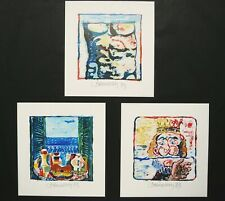 MIGUEL BERROCAL, SET OF 3 HAND SIGNED LITHOGRAPHS.