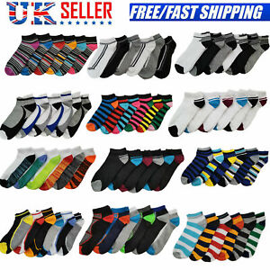 6 Pairs Trainer Socks Mens & Womens Cotton Ankle Liner Sports Work UK Sizes 6-11