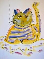 Art Drawing/Painting of Sitting Kitty Cat, Fun Colorful Whimsical Watercolor