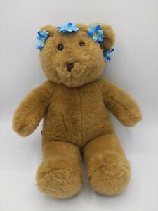 "Build a Bear Brown Teddy Bear Plush Stuffed Animal w/ Flower Crown 15"""