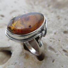 Size 7 (EU Size 54) Cognac / Brown BALTIC AMBER Ring, 925 STERLING SILVER #1859