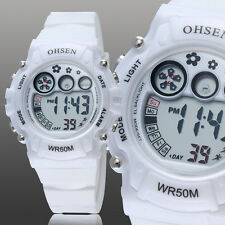 OHSEN Children Girls Boy White Day Water Proof Sport Digital Quartz Wrist Watch