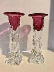 "Rare Pair Czech Chribska Art Glass Twisted Clear Cranberry Candle Holders 12.5"""