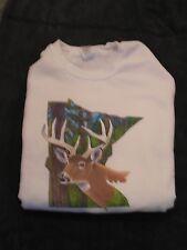 Minnesota Deer Sweatshirt Deer Superimposed on State Of Mn. Trees, Sky L or XLG