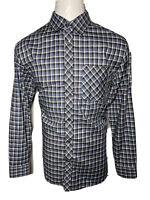 Banana Republic XL Blue Black White Check Men's Button-Front Shirt - Extra Large