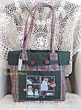 Longaberger HOLIDAY PLAID SNOWMEN SAMPLER Shopper Bag With Over Edge Liner NEW